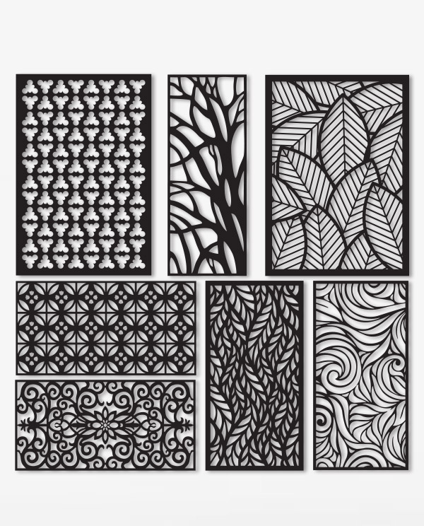 Kit 7 Panels Patterns Decorative Square Grids For Laser Cutting DXF CDR