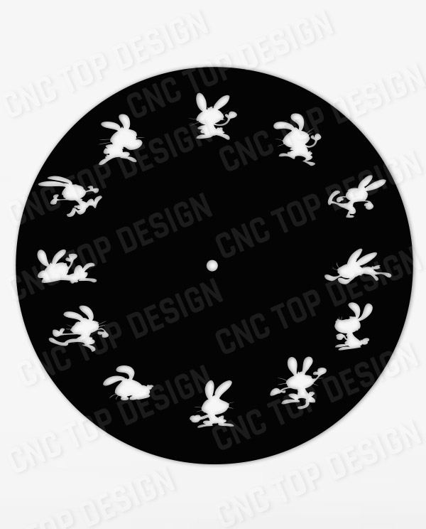 Clock rabbit funny CNC Vector DXF-CDR - AI Plasma Router Laser cut