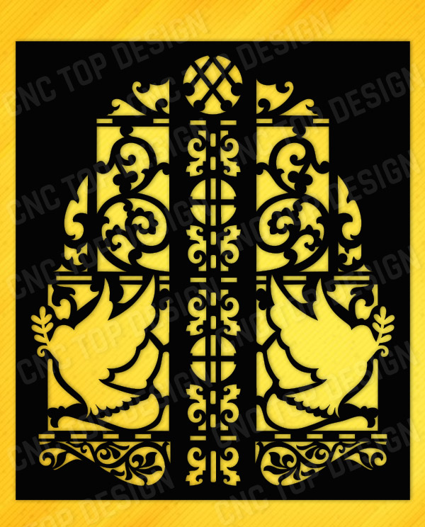 Outdoor Railing Panel Decorative Privacy Screen Flowers Birds