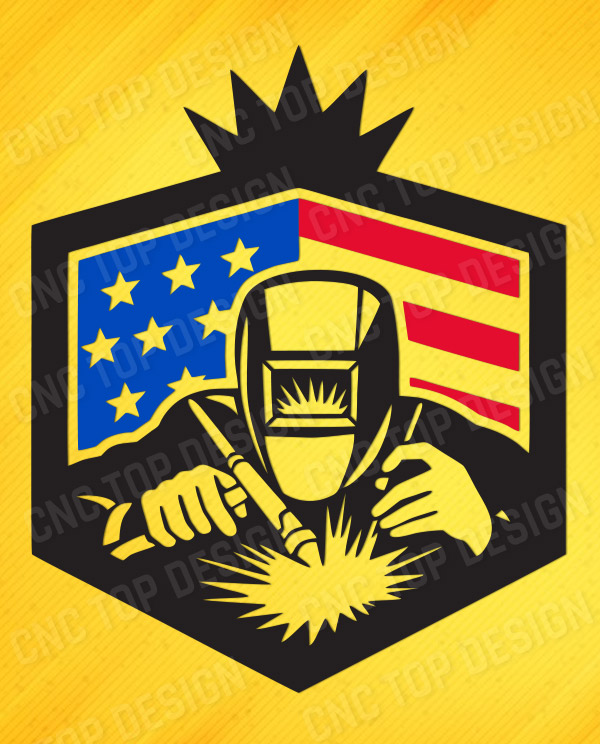 Welder with usa american stars DXF CDR and EPS File For Laser Cut, CNC Machine