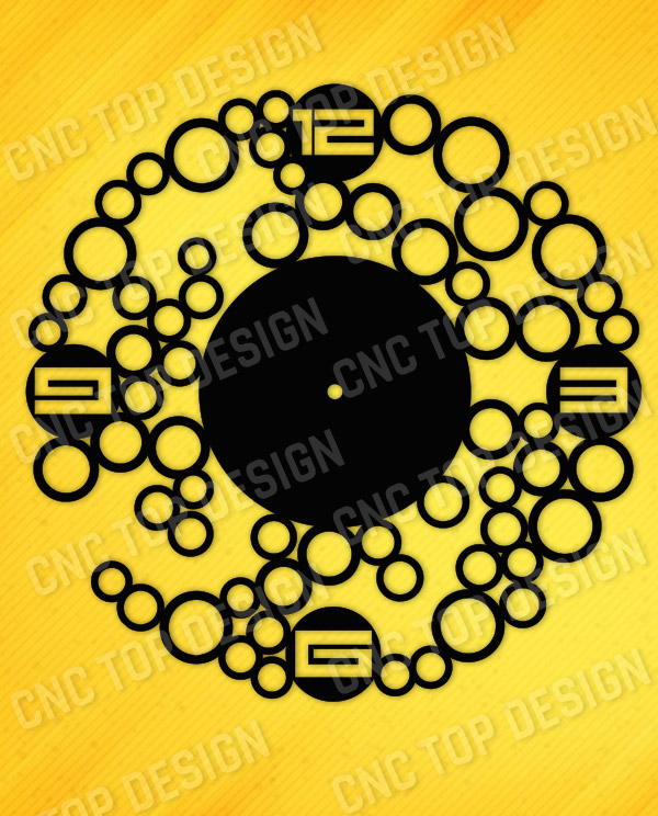 Bubbles wall clock design files - EPS AI SVG DXF CDR