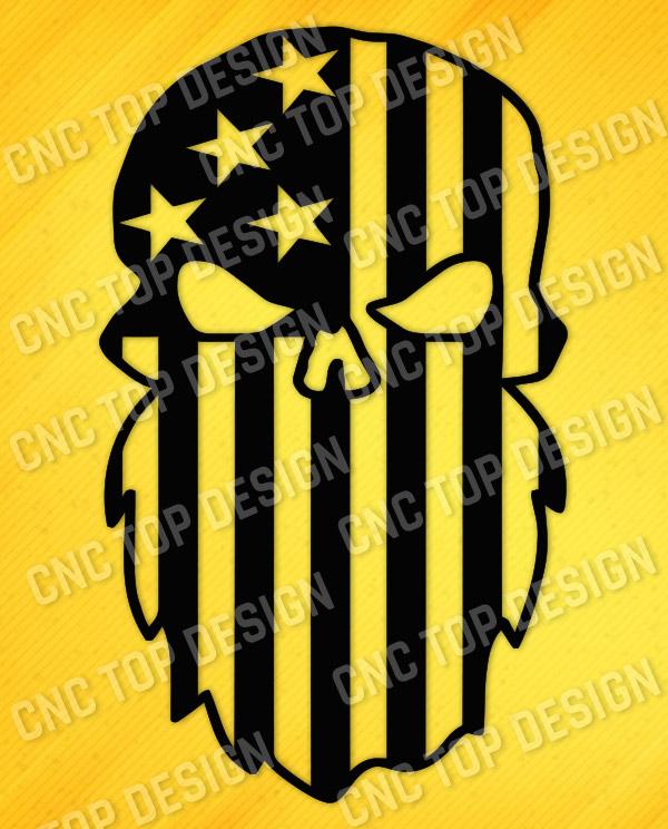 Beard Punisher USA Flag Skull Design files - DXF SVG EPS AI CDR