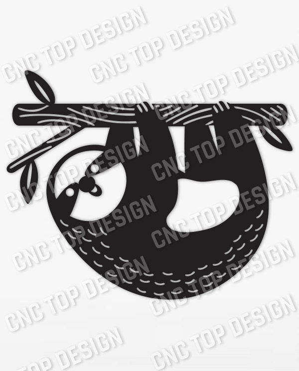 Sloth Modern Steel Wall Art Vector Design file - DXF SVG EPS AI CDR