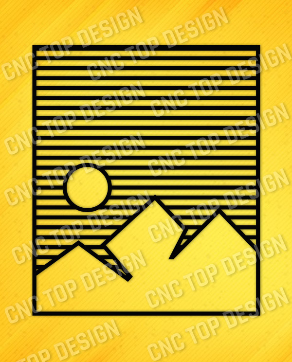 Mountain Stripes Wall Art Vector Design files - DXF SVG EPS AI CDR
