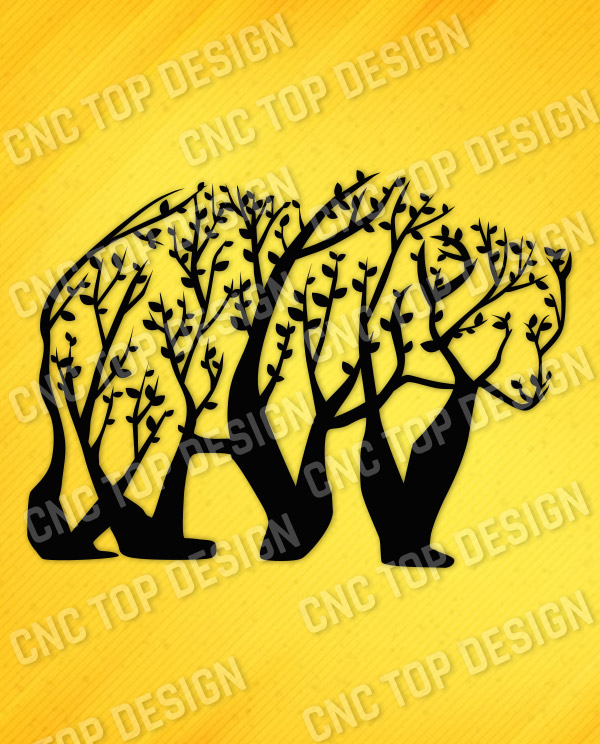 Bear Tree Art Vector Design file - DXF SVG EPS AI CDR