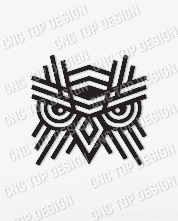 OWL Geometric Wall Art Design files - DXF SVG EPS AI CDR
