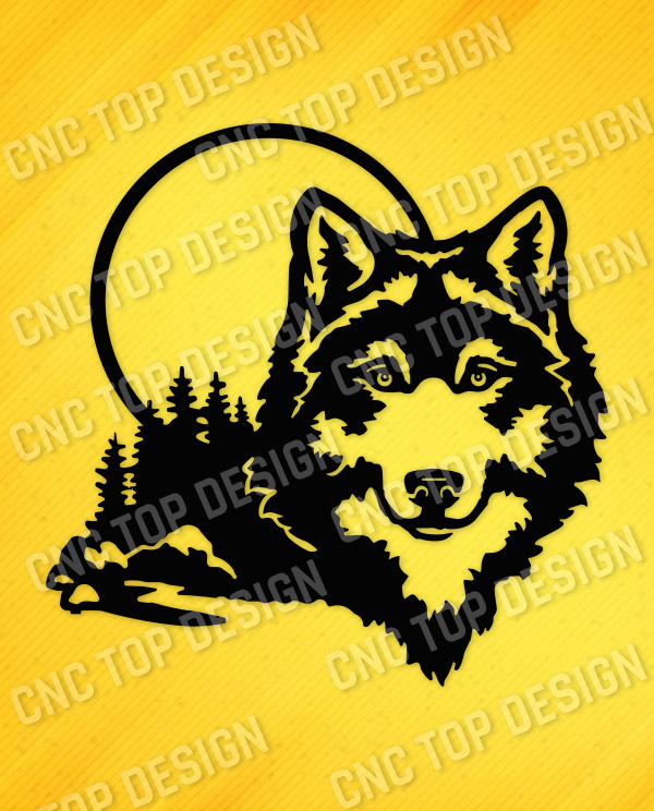 Moonlight Wolf Wall Art Vector Design file - DXF SVG EPS AI CDR