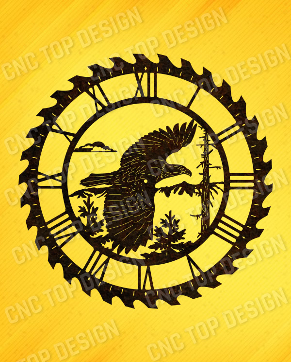 Eagle wall clock vector design file - DXF SVG EPS AI CDR
