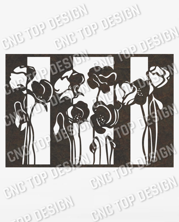 Flower wall decor design files - DXF SVG CDR EPS AI - P253