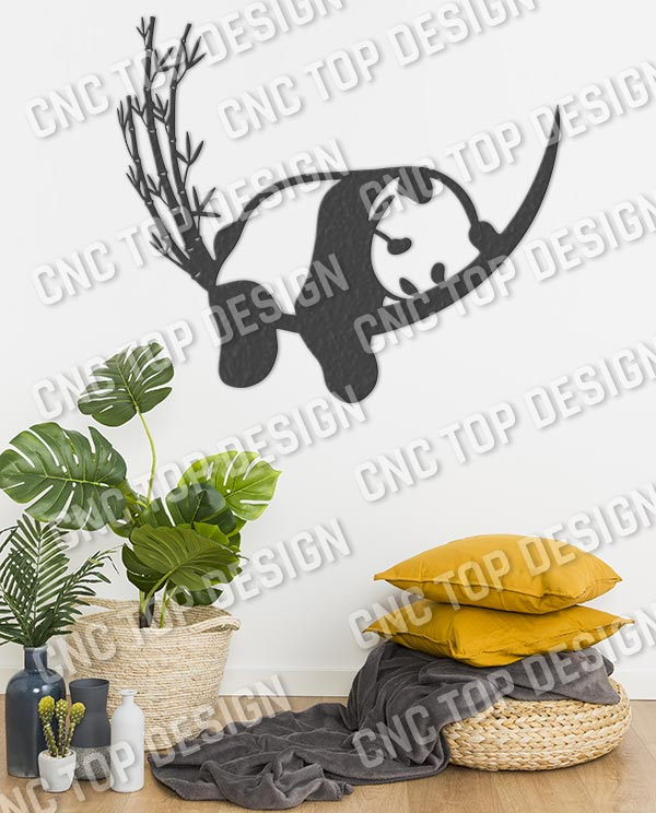 Resting Panda and Bamboo design files – SVG DXF EPS PNG